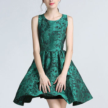 Forest Green Floral Party Dress - Price Drop