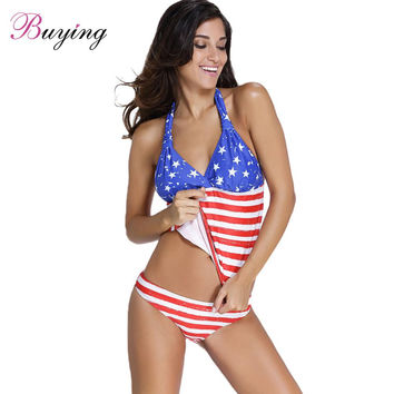 2017 Women Sexy American Flag Swimsuit Tankini With Shorts Stripes And Stars Swimwear Plus Size Maillot De Bain Femme