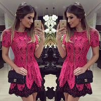 Scoop High-waist Splicing Short Lace Red Dress
