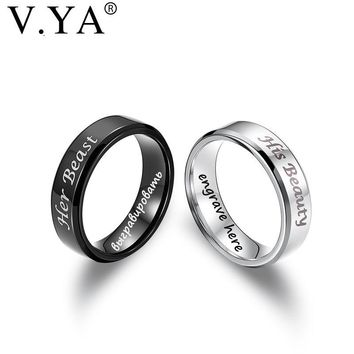 V.YA Romantic Couple Rings Wedding Jewelry for Lovers Her Beast His Beauty Stainless Steel Rings Engagement Promise Jewelry Ring
