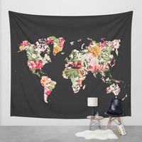 Wall Tapestry // Floral World Map