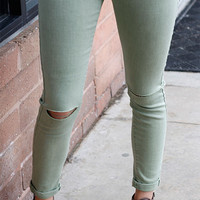 Sage roll up Jeggings