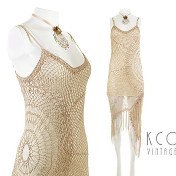 "Vintage Crochet Dress Fringe Beige Nude Boho Festival Clothing Women's Size XS / Slinky Beaded Unique Macrame Mini 90's does 20's 30-34""Bust"