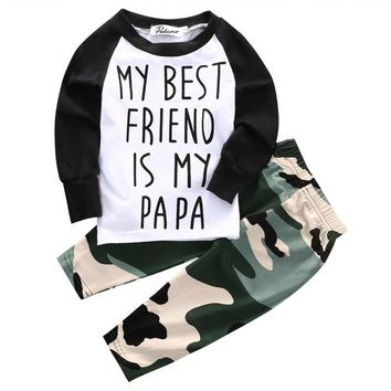 pudcoco 2017 new style Camouflage pants baby boy clothes gentleman 2 pieces set party and wedding Long Sleeve Boy Clothing Set