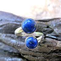 Free Size handmade Silver Ring with Lapis Lazuli - Lovely Silver Lapis Lazuli Ring