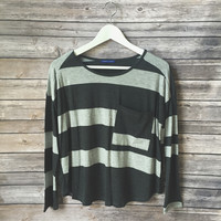 Charcoal Gray Mixed Stripe Top