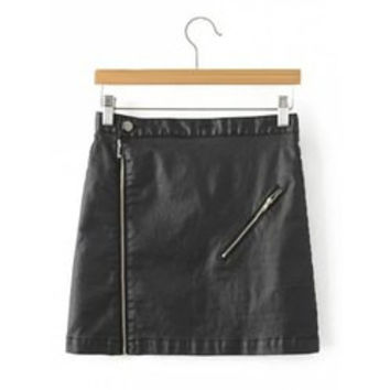 Stylish Black Faux Lether Zip Up Short Skirt