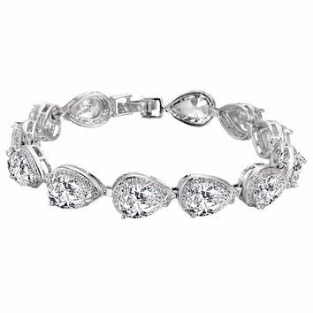 Bella Fashion Sparkling Teardrop Bridal Tennis Bracelet Cubic Zircon Bracelet Wedding Jewelry For Gift Bridesmaid Party Jewelry