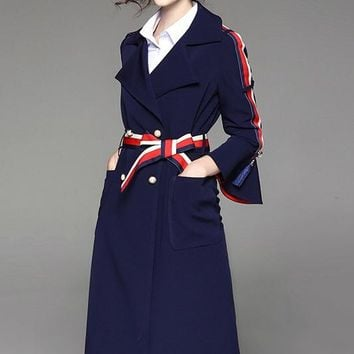 Trench Coat W/ Contrast Color Detail