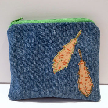 Zippered Feather Denim Coin Purse
