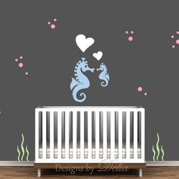 Nursery Decal with Mommy or Daddy Seahorse with Baby Seahorse