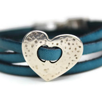 Ladies 5mm Blue Flat Leather Triple Wrap Bracelet Silver Coloured Hammered Heart Spacer Silver Coloured Pull Clasp PepperPotLeatherShop PPP