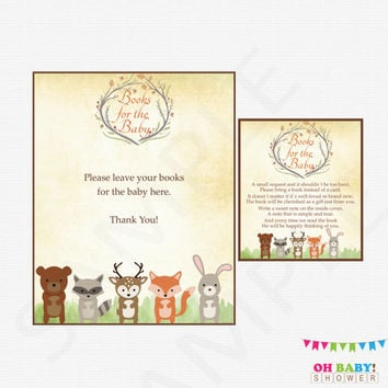 Woodland Baby Shower, Bring a Book Instead of Card, Book Request Baby Shower, Woodland Animals, Gender Neutral Baby Shower, Printable WD01
