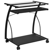 Mobile Computer Cart/Desk with Keyboard Tray Modern Home Office Furniture Black