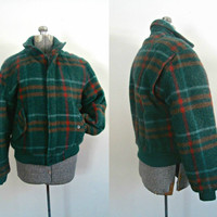 Vintage Plaid Wool Bomber / 1980s Members Only Winter Jacket / Mens Fashion Size 40