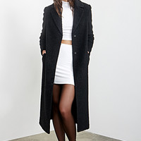 FOREVER 21 Textured Longline Duster Coat Black