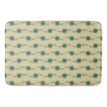 Signature Turquoise Abstract Dots Pattern Bathroom Mat