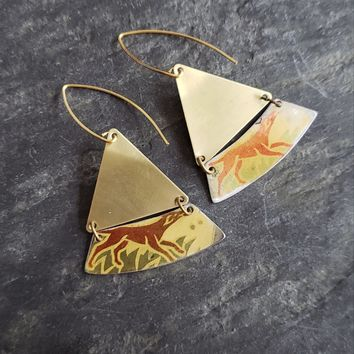 Holiday Hunting Dogs Repurposed Vintage Tin Earrings