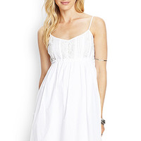 LOVE 21 Lace-Detail Cotton Sun Dress White
