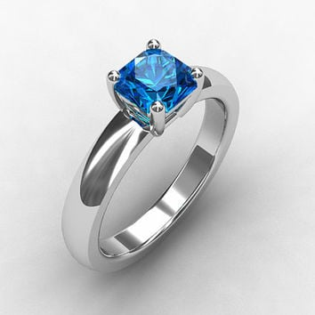 Swiss blue topaz ring, white gold, engagement ring, emerald cut, square, blue engagement, topaz ring, blue topaz, solitaire