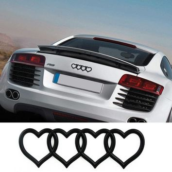 For Audi Logo Trunk Badge Rear Emblem Heart Love Decal Sticker Replacement for Audi A3 A4 A5 A6 A8 Q3 Q5 Q7 TT RS6 RS5 RS8