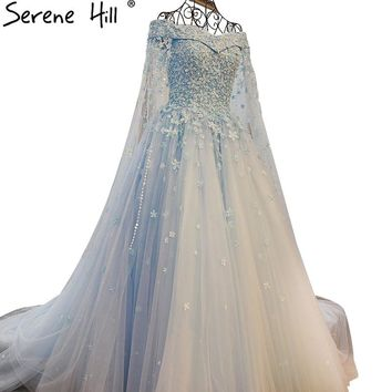 Blue Sleeveless Wedding Dress Beading Flowers Tulle Ball Gown Sexy Bridal Dress