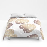 Pastel monstera Comforters by Printapix