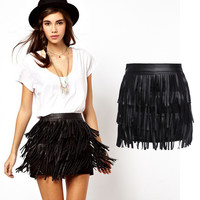 Synthetic Leather Tassels Black Mini Skirt