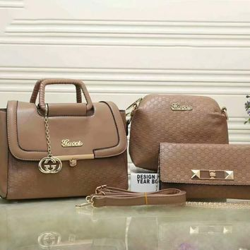 GUCCI Three Piece Women Shopping Leather Handbag Tote Satchel Shoulder Bag H-LLBPFSH