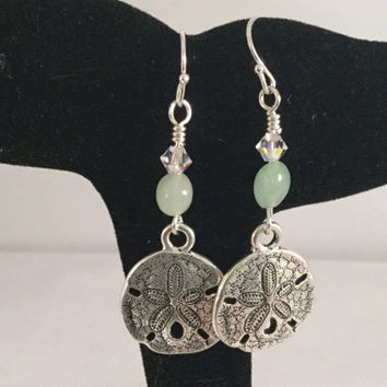 Sand Dollar Earrings, aventurine bead accent, beach jewelry, ocean earrings,pewter sand dollar charm, gemstone earrings, gift for her