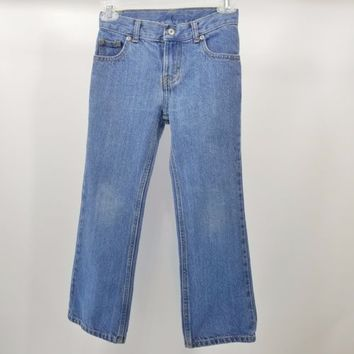 Faded Glory Girls Blue Jeans Size 7R Adjustable Waist 24 x 22