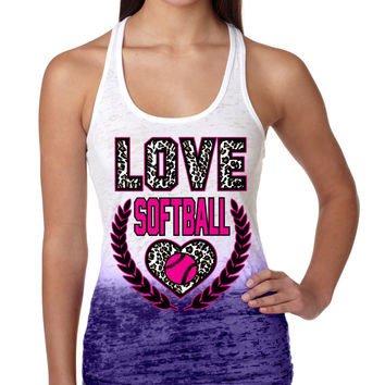 Love Softball Leopard Womens Ombre Tanktop
