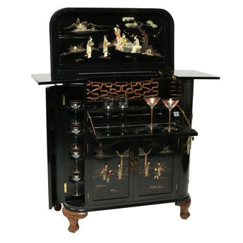 Pre-owned Regency Black Lacquer Chinoiserie Bar Cabinet