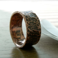 Copper Ring - Hammered and Oxidized Copper Band Size 6