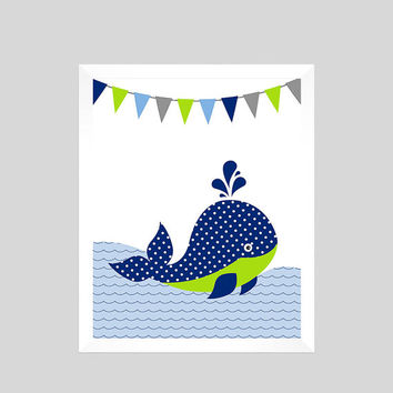 Whale Print, Nautical Print, Nautical Nursery Decor, Baby Print, Nautical Print, Baby Boy, Nursery Art Print, CUSTOMIZE YOUR COLORS 8x10