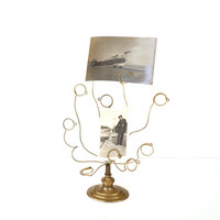 Vintage Brass Picture Tree Picture Stand Wedding Picture Tree Picture Holder Card Note Holder Desk Office Accessories Wedding Decor