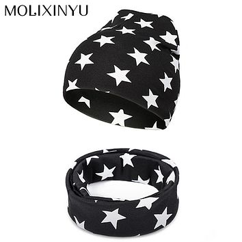 MOLIXINYU 2pcs Baby Hat Star Pattern Newborn Baby Scarf Hats For Boys Girls Cotton Children Set Collar Hat Boys Baby Beanie Cap