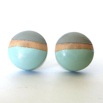 Mint green and gray earrings, colorblock earrings, round earrings, statement earrings