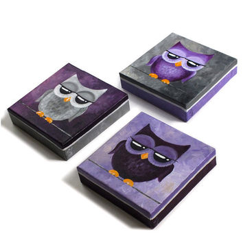 Whimsical Owl Art, 3 PURPLE and GRAY OWLS, Set of 3 6x6x1.5 acrylic paintings for home and office