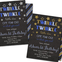 Boy Twinkle Little Star Birthday Invitations - Boy 1st Birthday Invitations - Twinkle Twinkle Little Star Blue Gold Silver - First ONE Girl