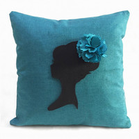 Romantic Cameo Shabby Chic Turquoise Burlap Pillow Cover. 16inch