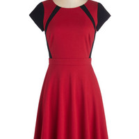 ModCloth Mid-length Short Sleeves A-line The Best for Contrast Dress