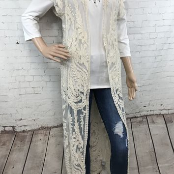 Lace cap sleeve duster