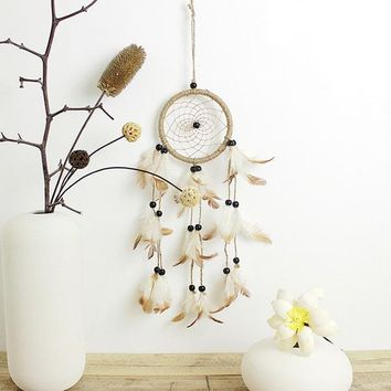 Original Hand Woven Natural Feathers Dreamcatcher American Pastoral Gifts Hanging Decor Ornament