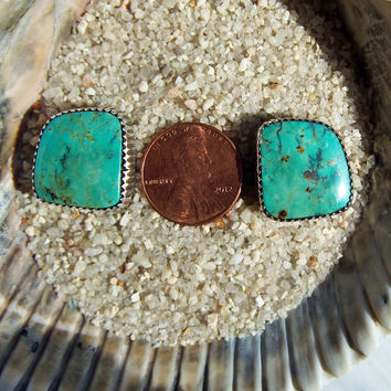 Native American Vintage Turquoise and Sterling Silver Post Style Earrings Signed A. LEE