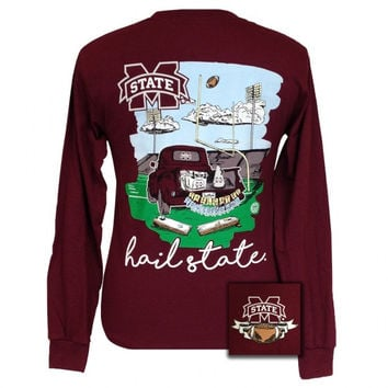 MSU Mississippi State Bulldogs Tailgate & Touchdowns Party Long Sleeve T-Shirt