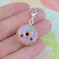 Kawaii Grape Donut Charm | Cute Polymer Clay Jewelry Accessory | Handmade Gift | Miniature Sweet Food