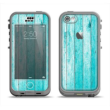 The Trendy Blue Abstract Wood Planks Apple iPhone 5c LifeProof Nuud Case Skin Set