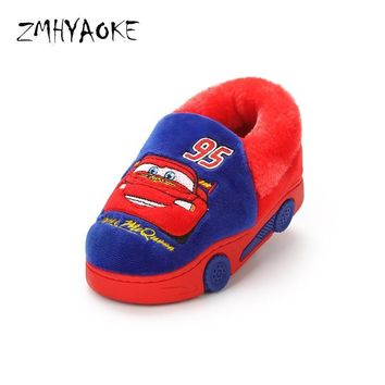 ZMHYAOKE 2018  Plush Bobo Choese New Winter Kids Cotton Slippers Pantunflas Cartoon Car Football Warm Kids Slippers ShoesKawaii Pokemon go  AT_89_9