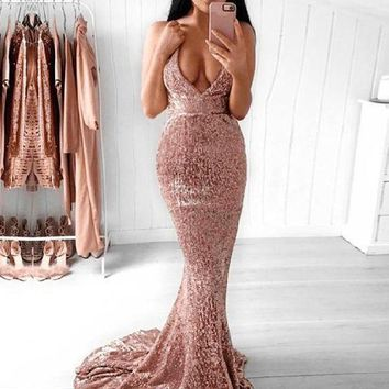 Illusion Evening Dresses Blush Glitter Prom Dress Mermaid